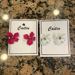 Pink & White Flower Stud Earrings
